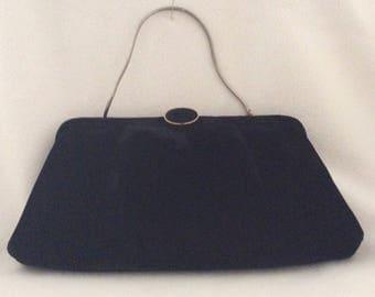 Vintage wedding bag, 50s handbag, gift for her, mod bag, Sleek Crêpe Andre Vintage Mid-Century Black with Gold Clutch changing snake chain