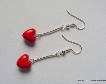 BO * 01 fancy Red Heart Earrings