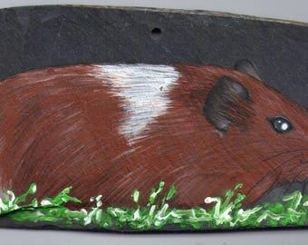 pig India acrylic painting on Slate