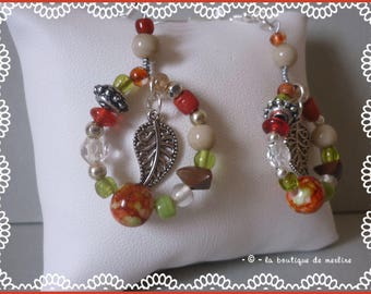 Accessory: Bohemian, various beads and small silver leaf earrings