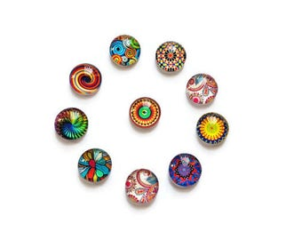 Illustrated glass 10 x 12 mm cabochons