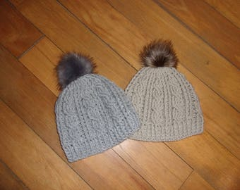 Cabled with fur women Pom Pom Hat