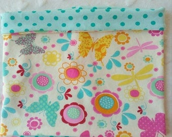 Snood for children mid season for girl, tube scarf reversible in jersey Butterfly turquoise, yellow, pink and Mint peas