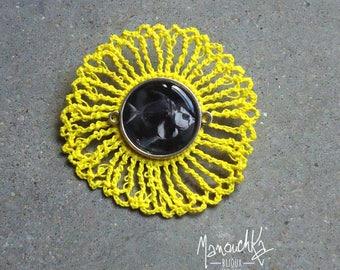 Lemon yellow crochet fish skeleton - brooch