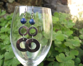 Circles and lapis lazuli stainless steel earrings