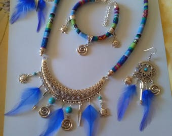 Ethnic dress blue feathers