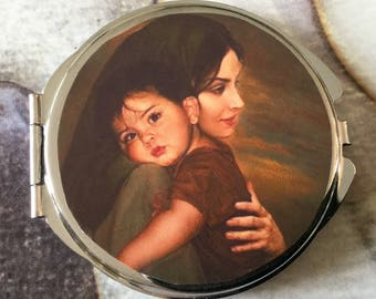 Gift for mother Pocket mirror with two mirrors inside the mother and child