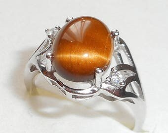 Ring in 925 sterling silver and Tiger eye cabochon