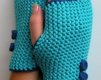 Mittens for women, turquoise blue colors and denim blue, 2 knitted buttons, gift for her