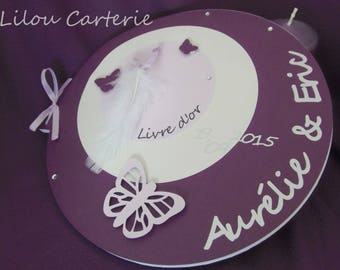 Guestbook wedding theme butterflies and feathers