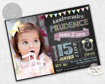 """Slate girl"" personalized birthday invitation - printable personalized Invitation"