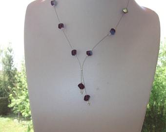 Plum glass beads necklace