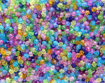 Bag of 350 multicolor translucent 4mm acrylic bicone beads