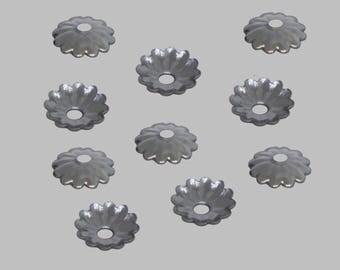 Bag of 120 caps beads silver dark gunmetal 5mm - free shipping