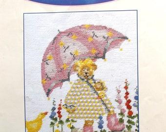 CANVAS to DMC bear with pink umbrella dimensions 24 X 28 cm