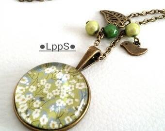 retro vintage romantic style pendentif●○●liberty ●○● cabochon necklace