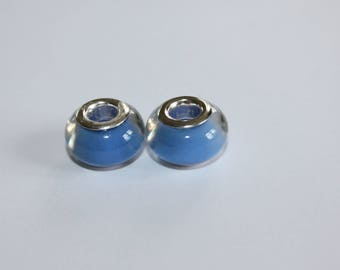 2 x acrylic beads - European large hole type.