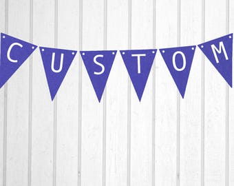 Purple & White Custom Personalised Flag Bunting - Birthday Wedding Engagement Baby Shower Baptism Hens Bucks Farewell Party Banner Sign