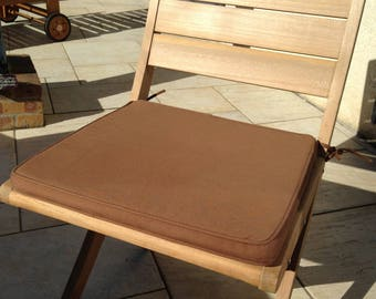 Set of 2 removable Brown cotton Chair cushions