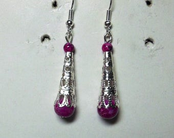 Filigree earrings and pearls marbled purple