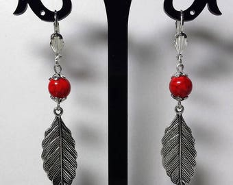 Leaves and Red howlite earrings