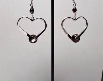Heart and pink Hematite earrings