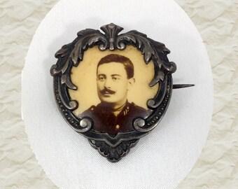 Antique daguerreotype portrait man brooch