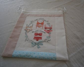 "Cross-stitched ""Ma Jolie Lingerie"" laundry bag"