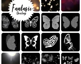 34 fantasy / fantasy jpg overlays, butterflies, glitter, glitter, leaks flares, Bokeh