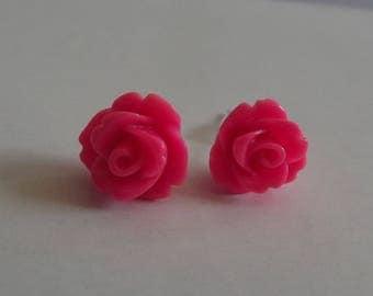 "Small ""flea"" Stud Earrings rose flower silver tone and acrylic"