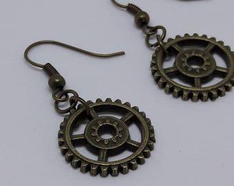 bronze steampunk gears earrings