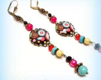 """Colorful spirals"" cabochon earrings"