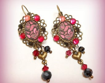 "Earrings ""cashmere fuchsia and black"""