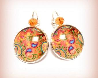 "Earrings cabochon ""Cashmere in Orange"""