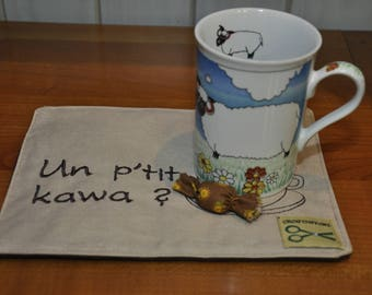 "Coffee is ""a p' P'tit kawa?"", beige and caramel candy"