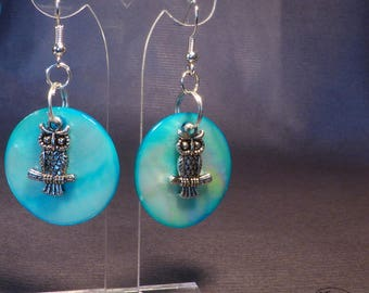 Owls - blue and Pearl Earrings