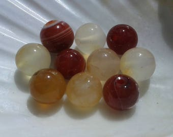 Agate Carnelian 8mm round pearls