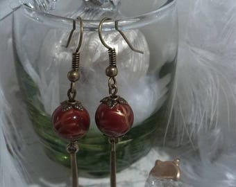 Holiday red and bronze earrings