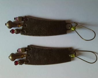 Bronze large connector earrings