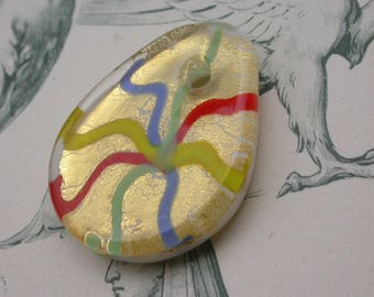 large Murano glass bead drop 3.2x2.5 yellow cm