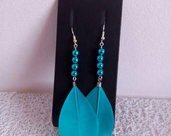 dangle earrings blue feathers