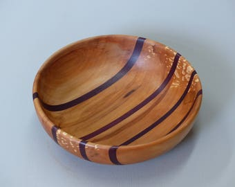 Turned wood fruit bowl