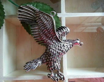 Tibetan style birds, Eagle, silver alloy pendants antique 95 x 73 x 8 mm, hole: 3 mm