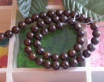 20 beads bronzite 8mm diameter, hole 1 mm