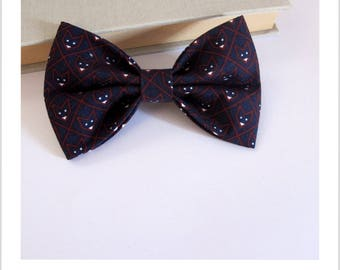 Bow tie and clip in hair 2 in 1 Midnight blue, black Fox head