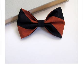 Bow tie and clip hair 2 in 1 black and brown stripe