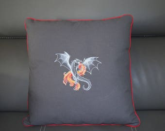 Embroidered with a customized to your colors, fire dragon cushion 40 x 40 cm