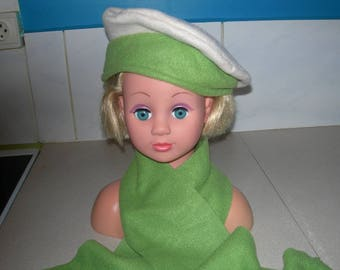 Green and beige kids beret and matching fleece scarf