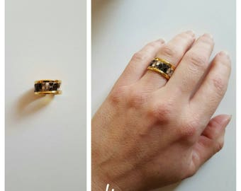 ring in gold natural python leather