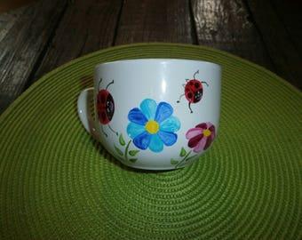 porcelain mug/jumbo Ladybug garden hand painted